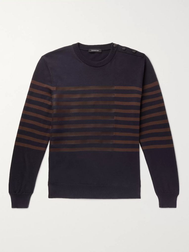 Ermenegildo Zegna Leather-Trimmed Striped Cotton and Cashmere-Blend Sweater