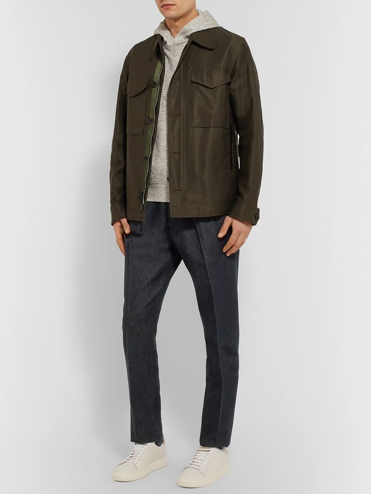 Ermenegildo Zegna Pleated Cotton and Silk-Blend Trousers