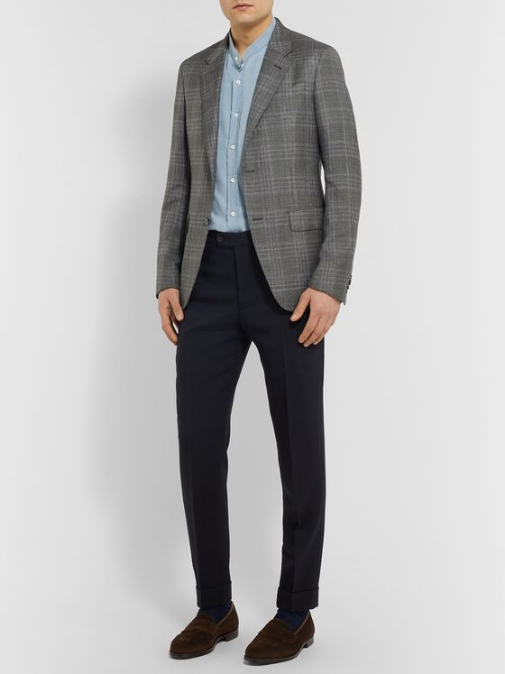 Ermenegildo Zegna Grey Slim-Fit Unstructured Checked Cashmere, Silk and Hemp-Blend Blazer