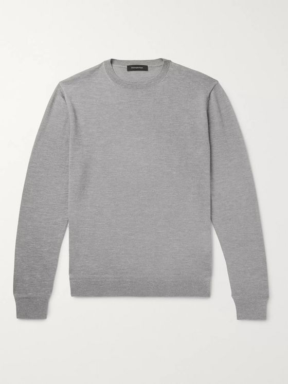 Ermenegildo Zegna Slim-Fit Mélange Cashmere, Silk and Linen-Blend Sweater
