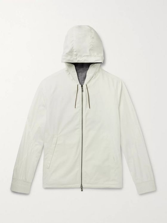 Ermenegildo Zegna Layered Shell and Mélange Cashmere-Blend Hooded Jacket