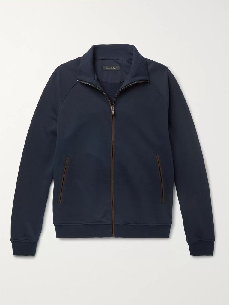 Ermenegildo Zegna Suede-Trimmed Loopback Cotton-Blend Jersey Zip-Up Sweatshirt