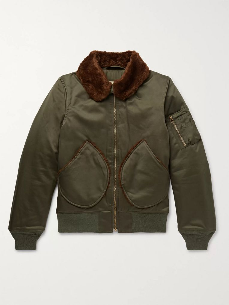 Monitaly B-15 Faux Shearling-Trimmed Vancloth Cotton-Sateen Bomber Jacket