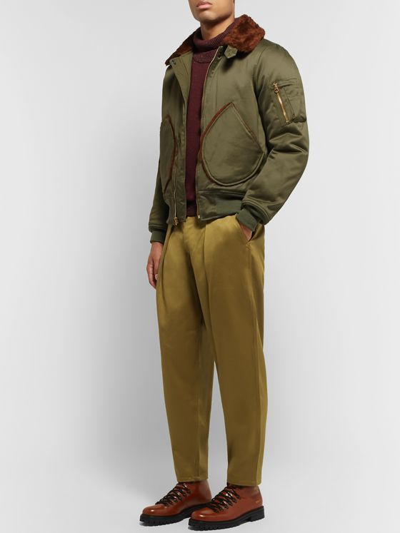 MONITALY Tapered Pleated Vancloth Cotton-Sateen Trousers