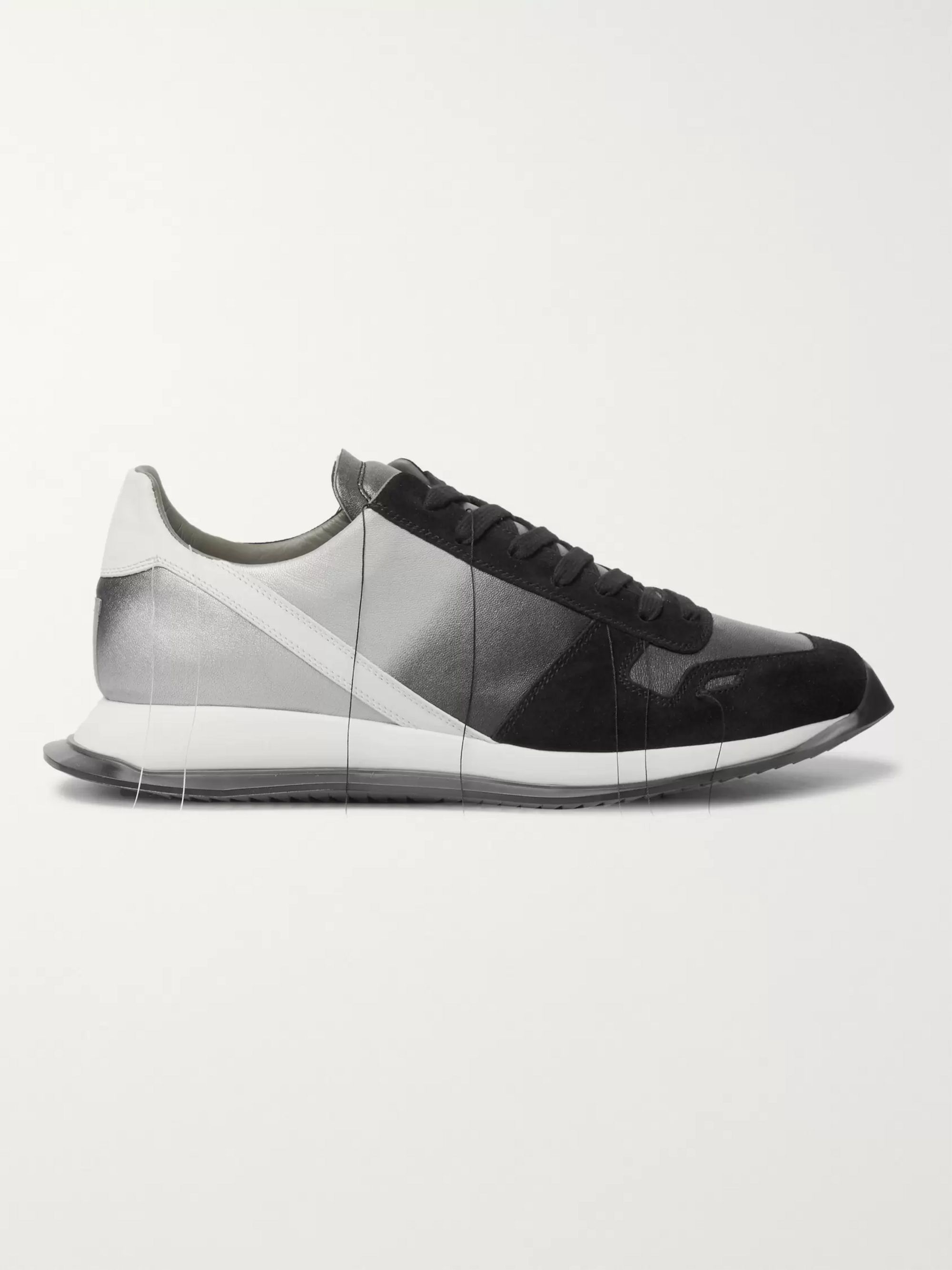 Rick Owens New Vintage Runner Dégradé Suede and Leather Sneakers