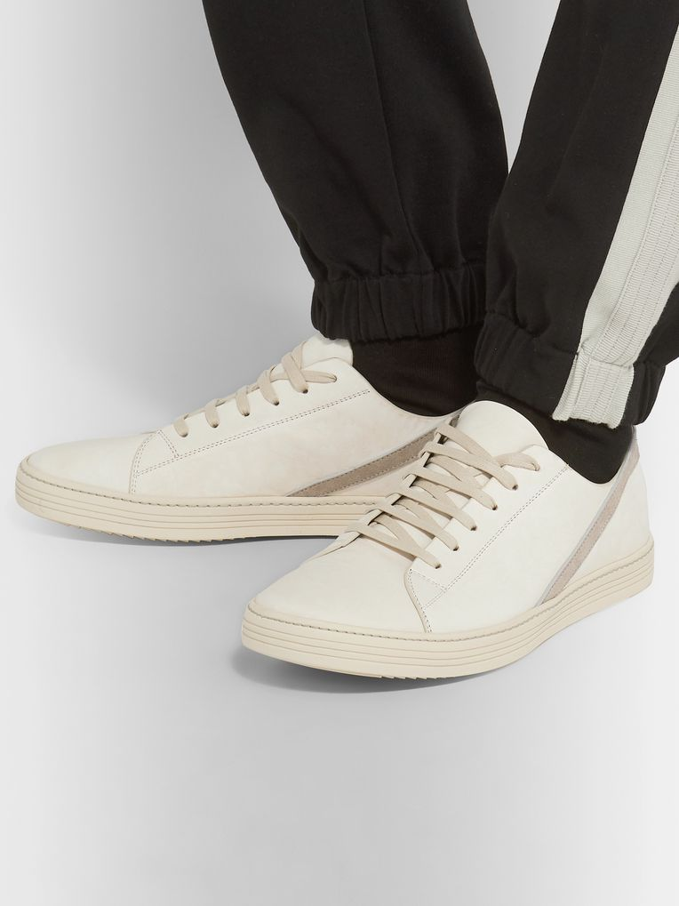 Rick Owens Geotrasher Suede-Trimmed Leather Sneakers