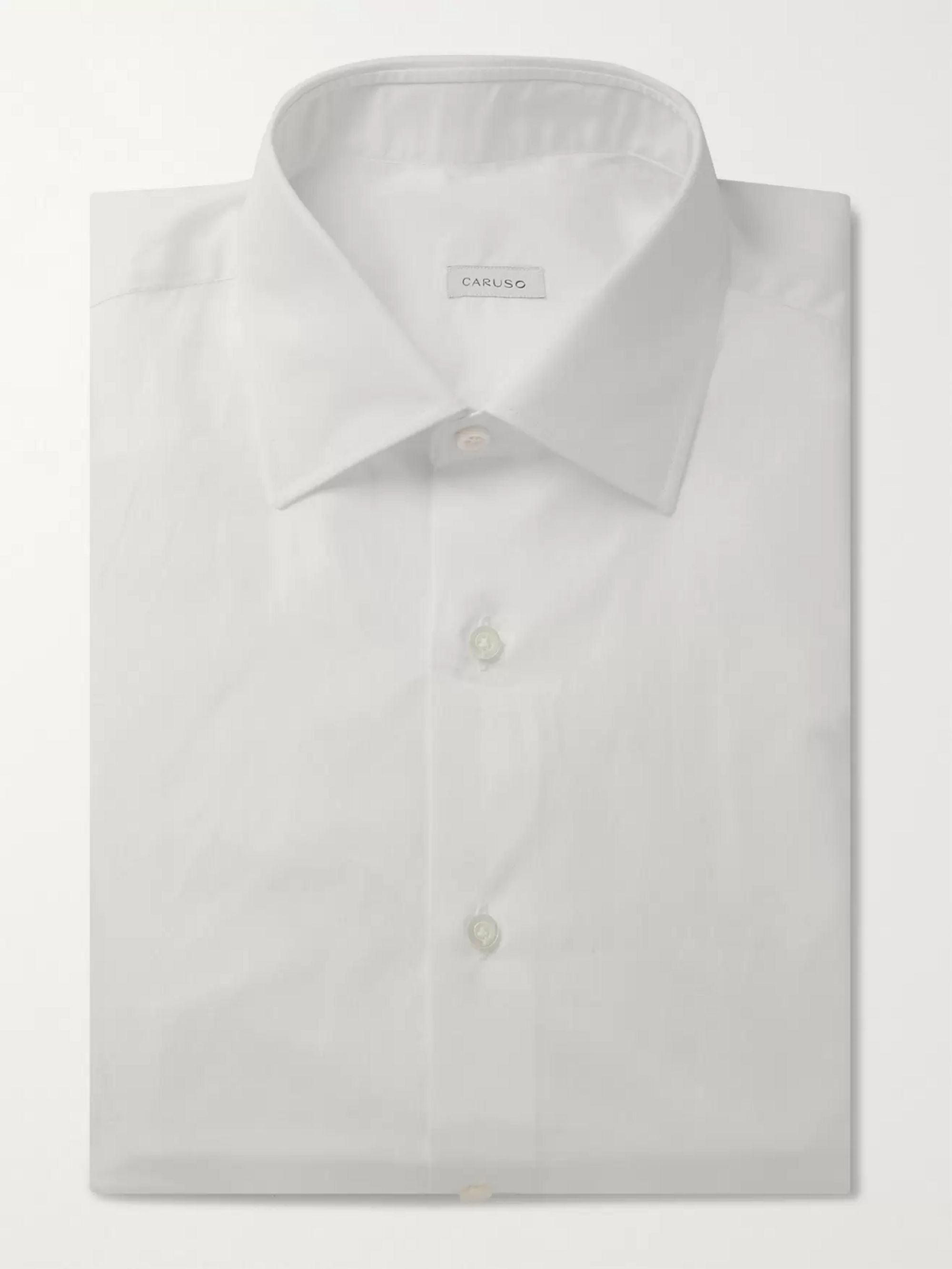 Caruso White Camromo Slim-Fit Cotton Shirt