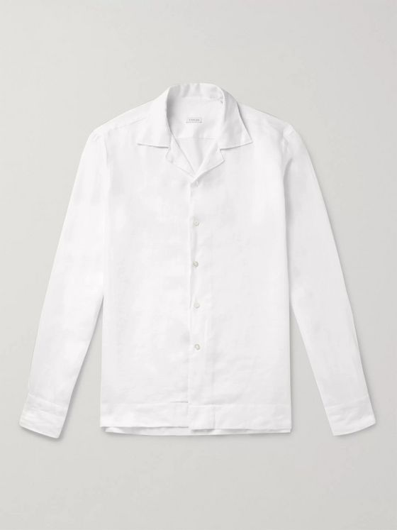 Caruso White Camp-Collar Linen Shirt