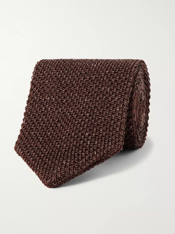 Caruso 6cm Knitted Silk and Linen-Blend Tie