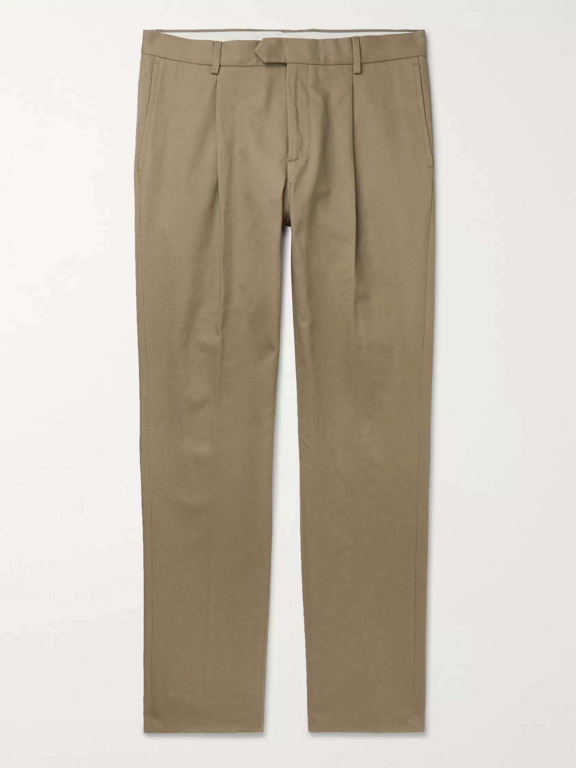 Caruso Beige Pleated Cotton-Twill Trousers