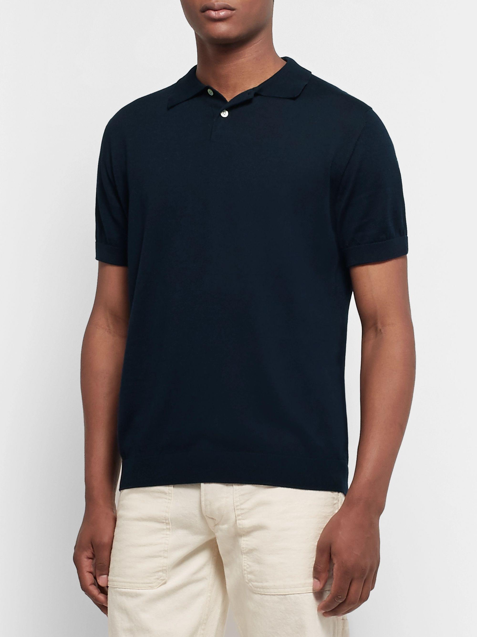 Handvaerk Mercerised Pima Cotton-Jersey Polo Shirt