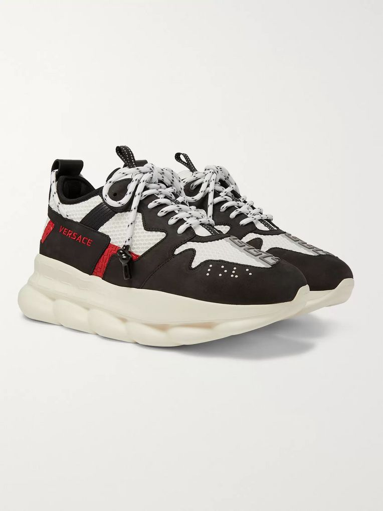 Versace Chain Reaction 2.0 Panelled Suede and Mesh Sneakers