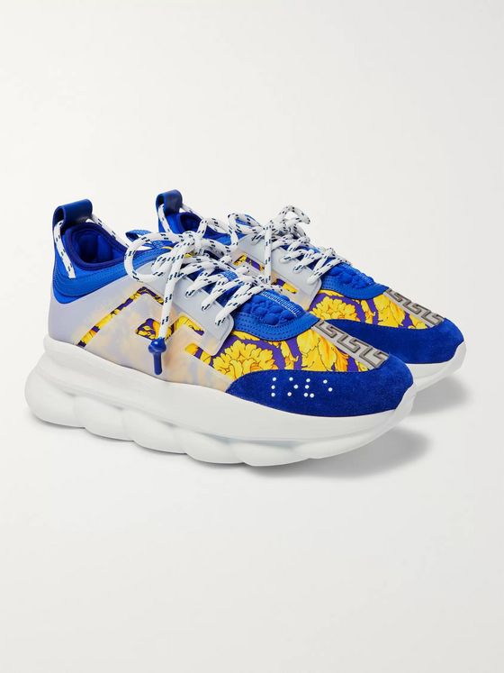 Versace Chain Reaction Panelled Shell, Rubber And Suede Sneakers