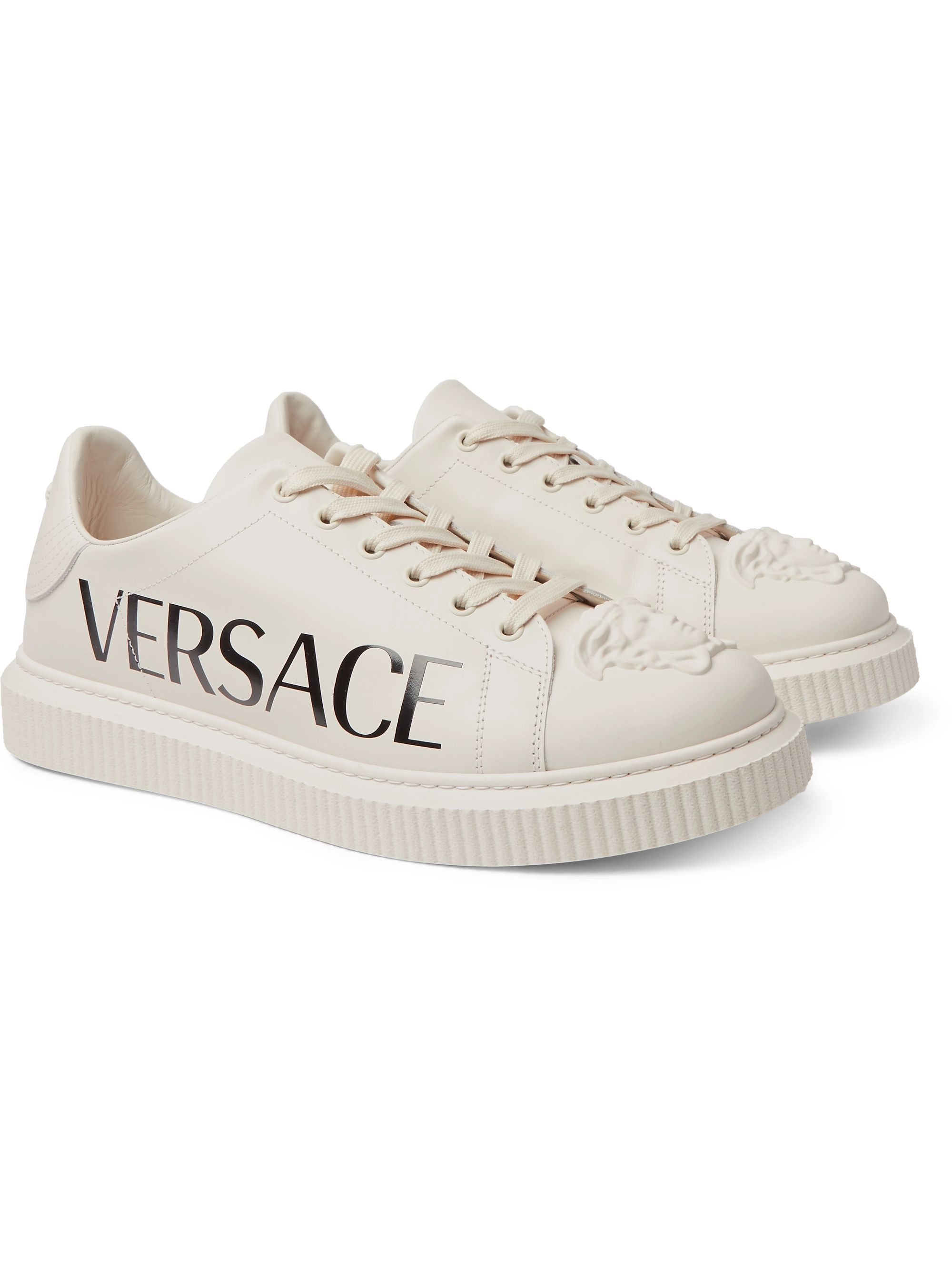 Versace Logo-Print Rubber-Trimmed Leather Sneakers
