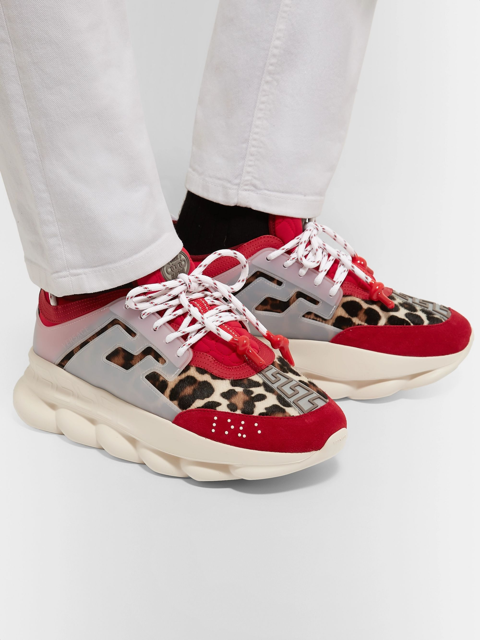 Versace Chain Reaction Panelled Calf Hair, Rubber and Suede Sneakers