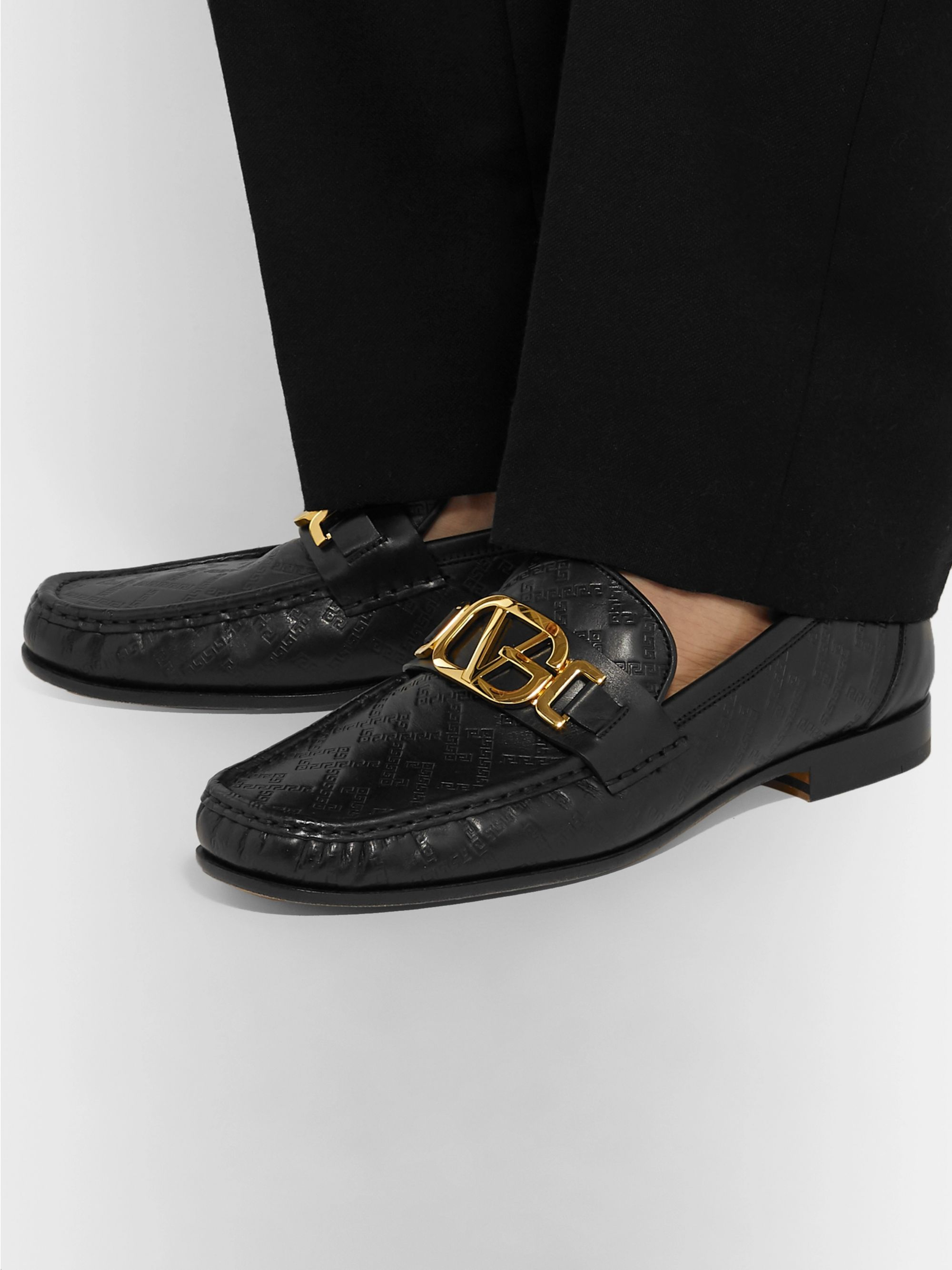 Versace Horsebit Logo-Embossed Leather Loafers