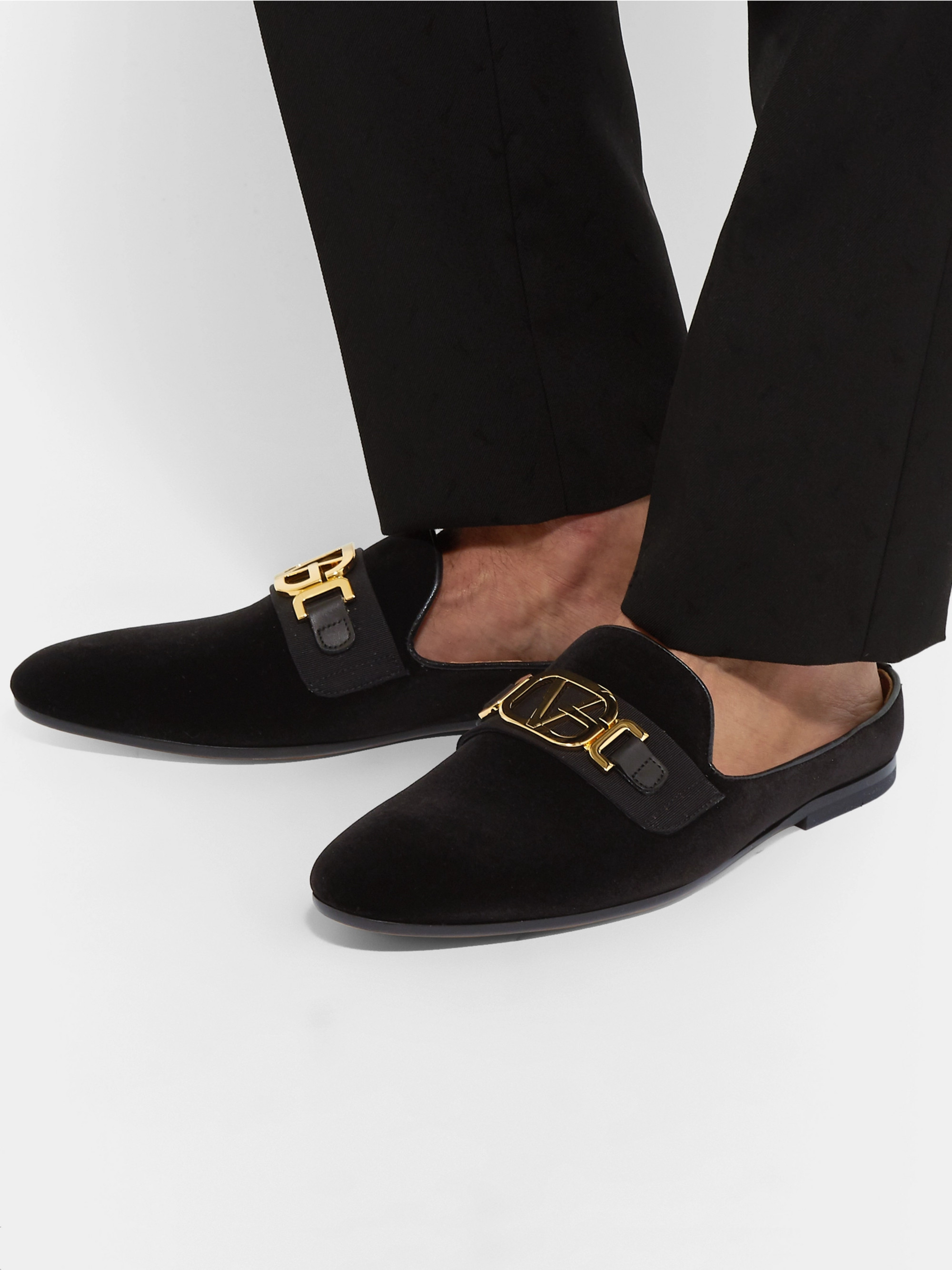 Versace Leather-Trimmed Horsebit Velvet Backless Loafers