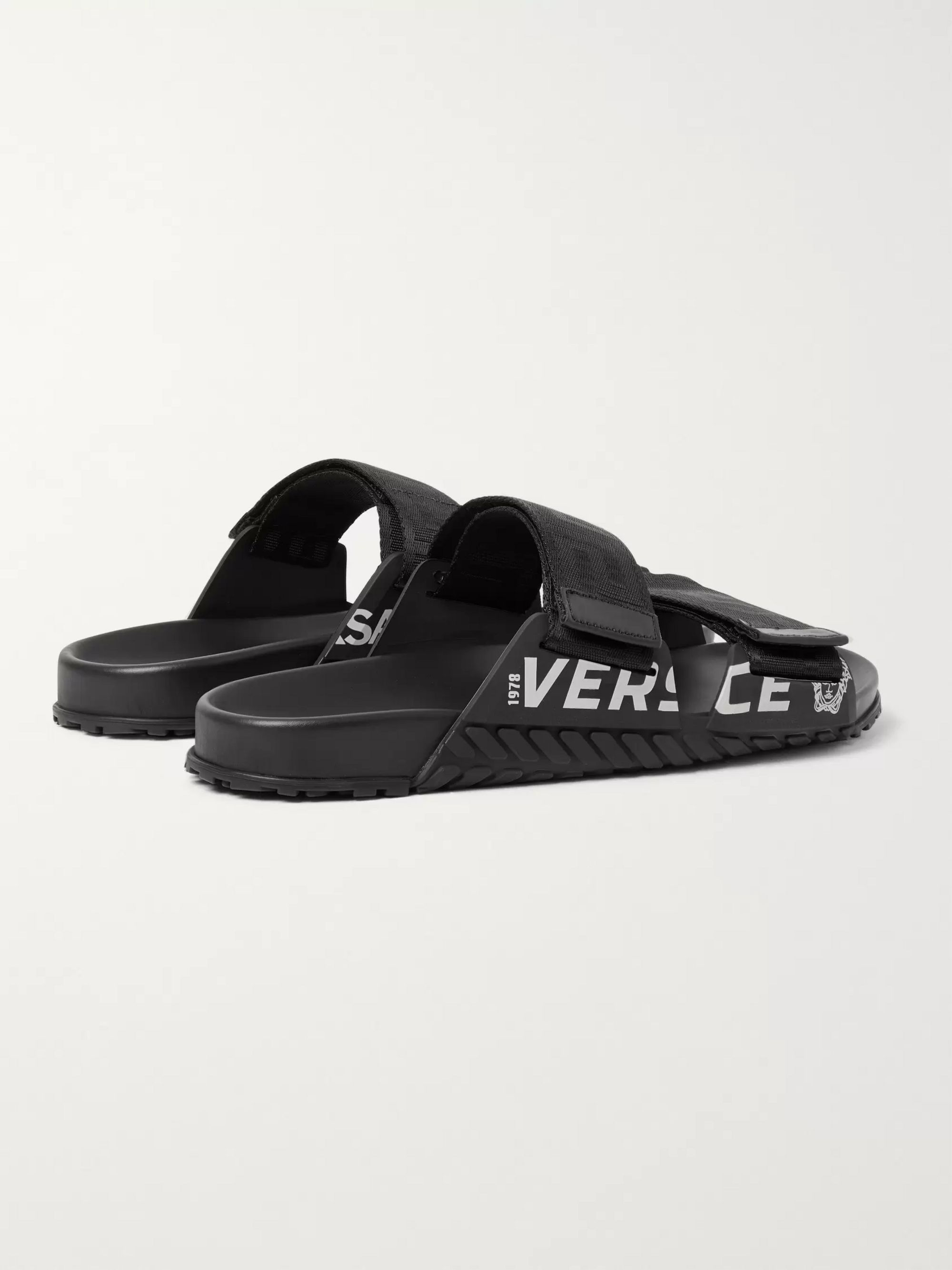 Versace Logo-Detailed Webbing and Rubber Sandals