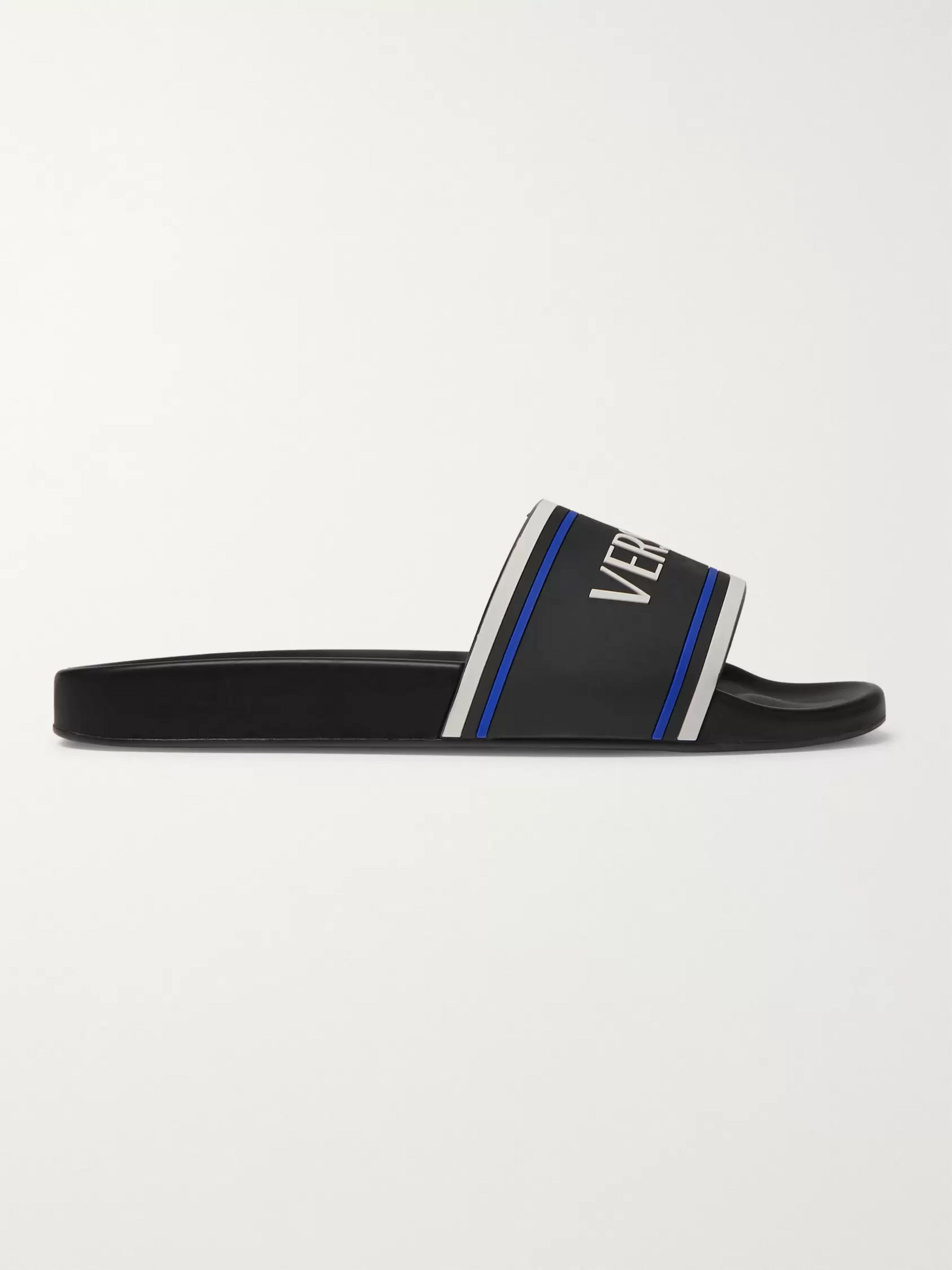 Versace Logo-Embossed Rubber Slides