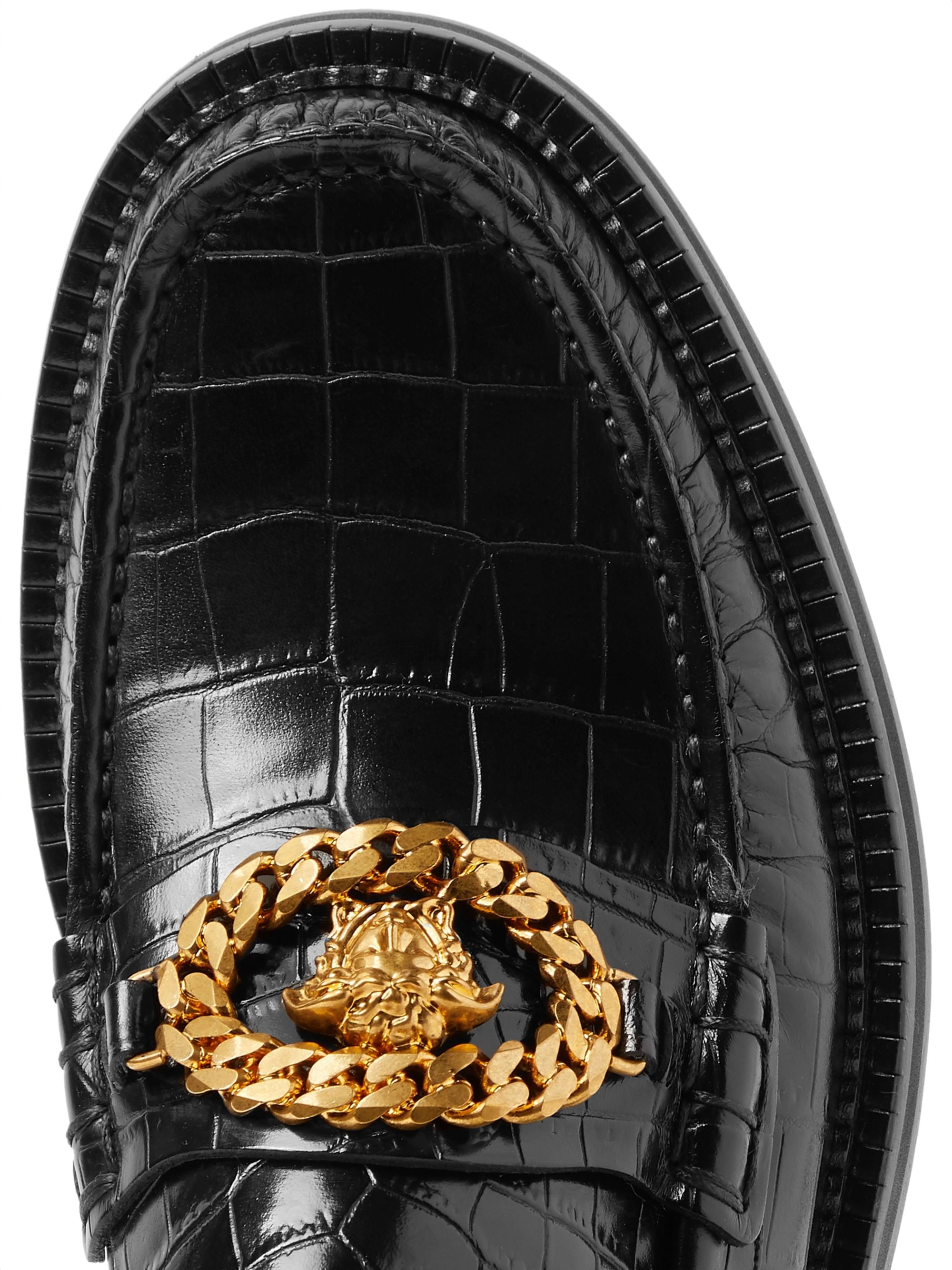 Versace Embellished Croc-Effect Leather Loafers