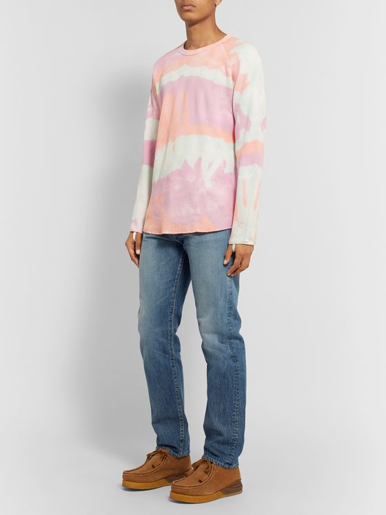 Sasquatchfabrix. Tied-Dyed Waffle-Knit Cotton T-Shirt
