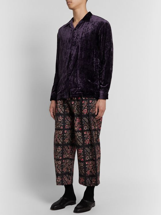 Sasquatchfabrix. Pleated Floral-Print Wool-Twill Drawstring Wide-Leg Trousers
