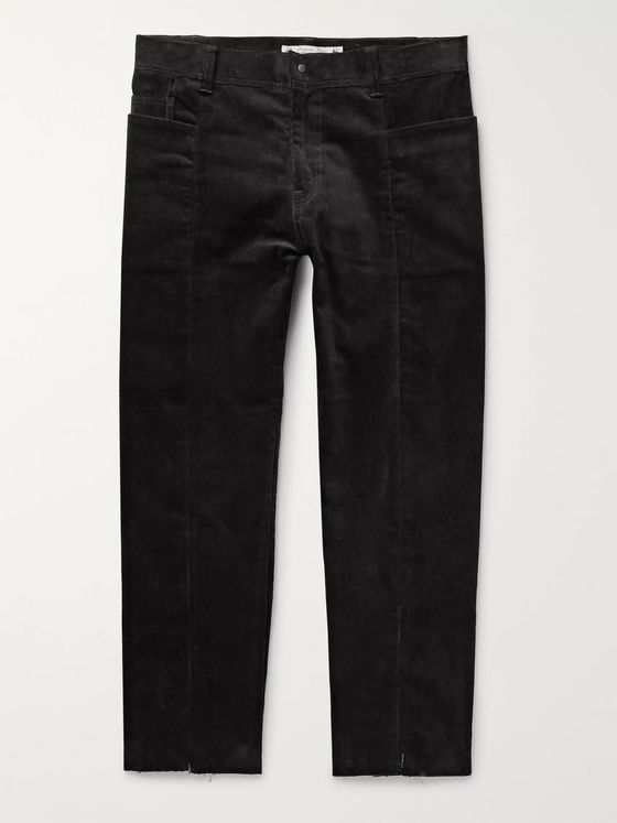 Sasquatchfabrix. Slim-Fit Cropped Panelled Cotton-Blend Corduroy Trousers