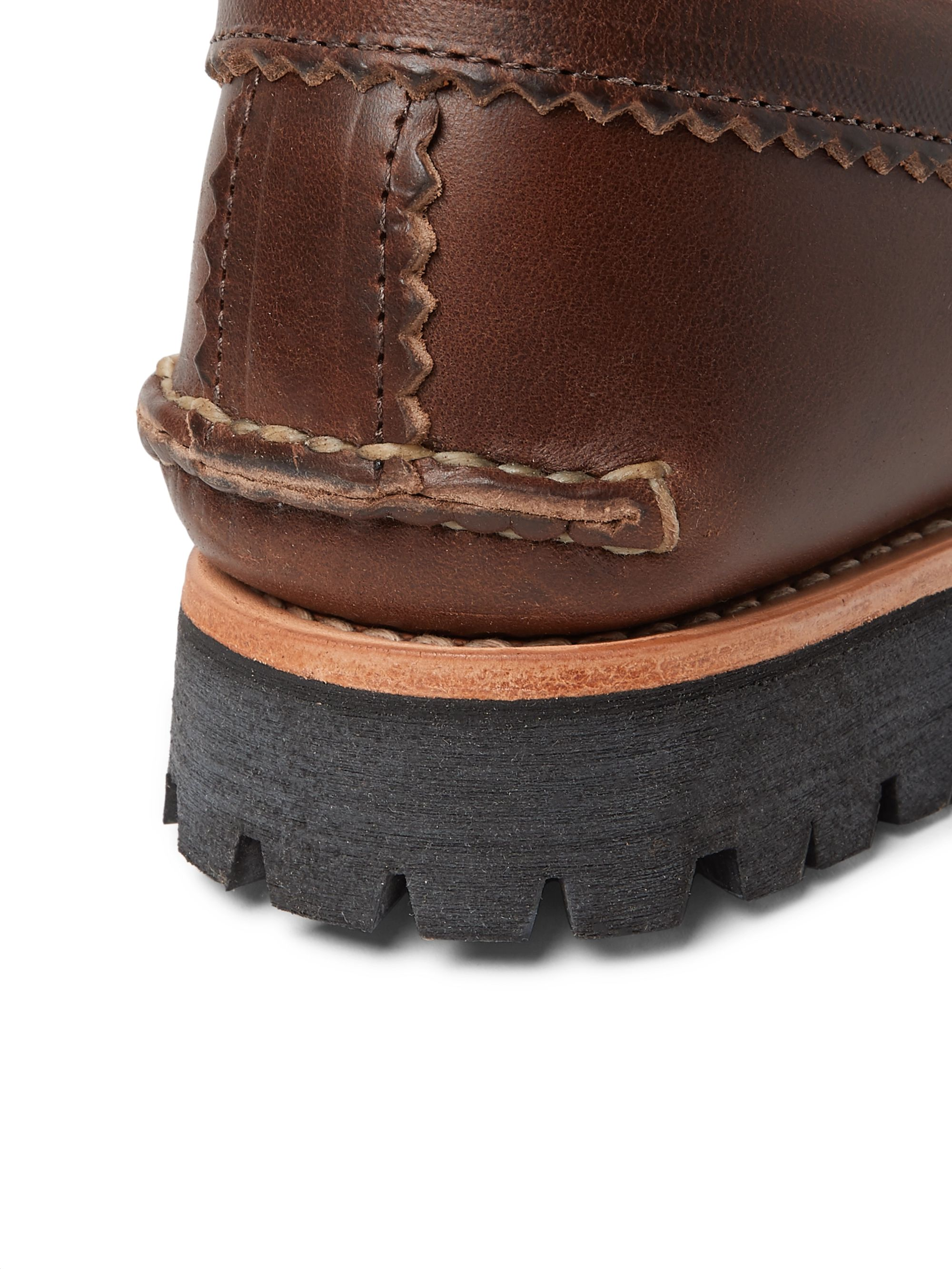 Brown Burnished-leather Penny Loafers   Yuketen