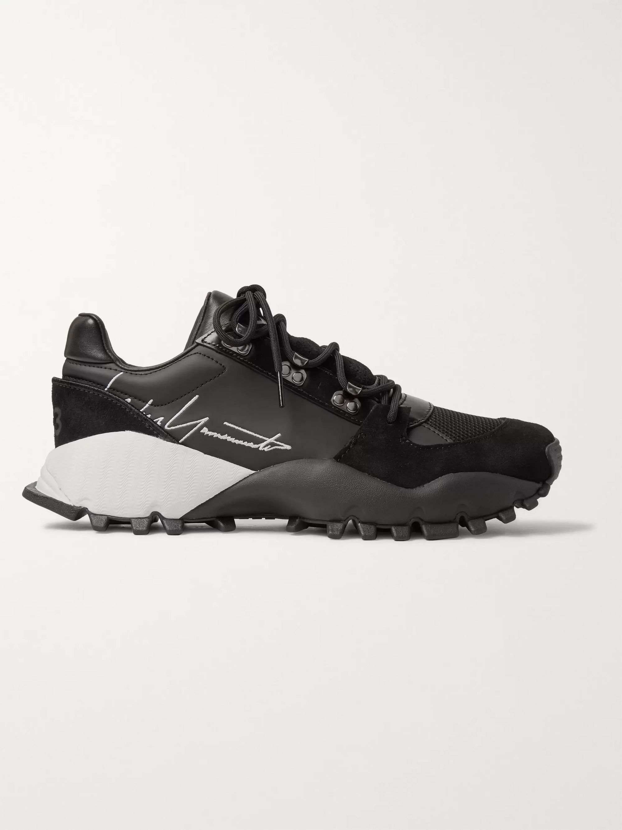Y-3 Kyoi Trail Leather, Suede and Mesh Sneakers