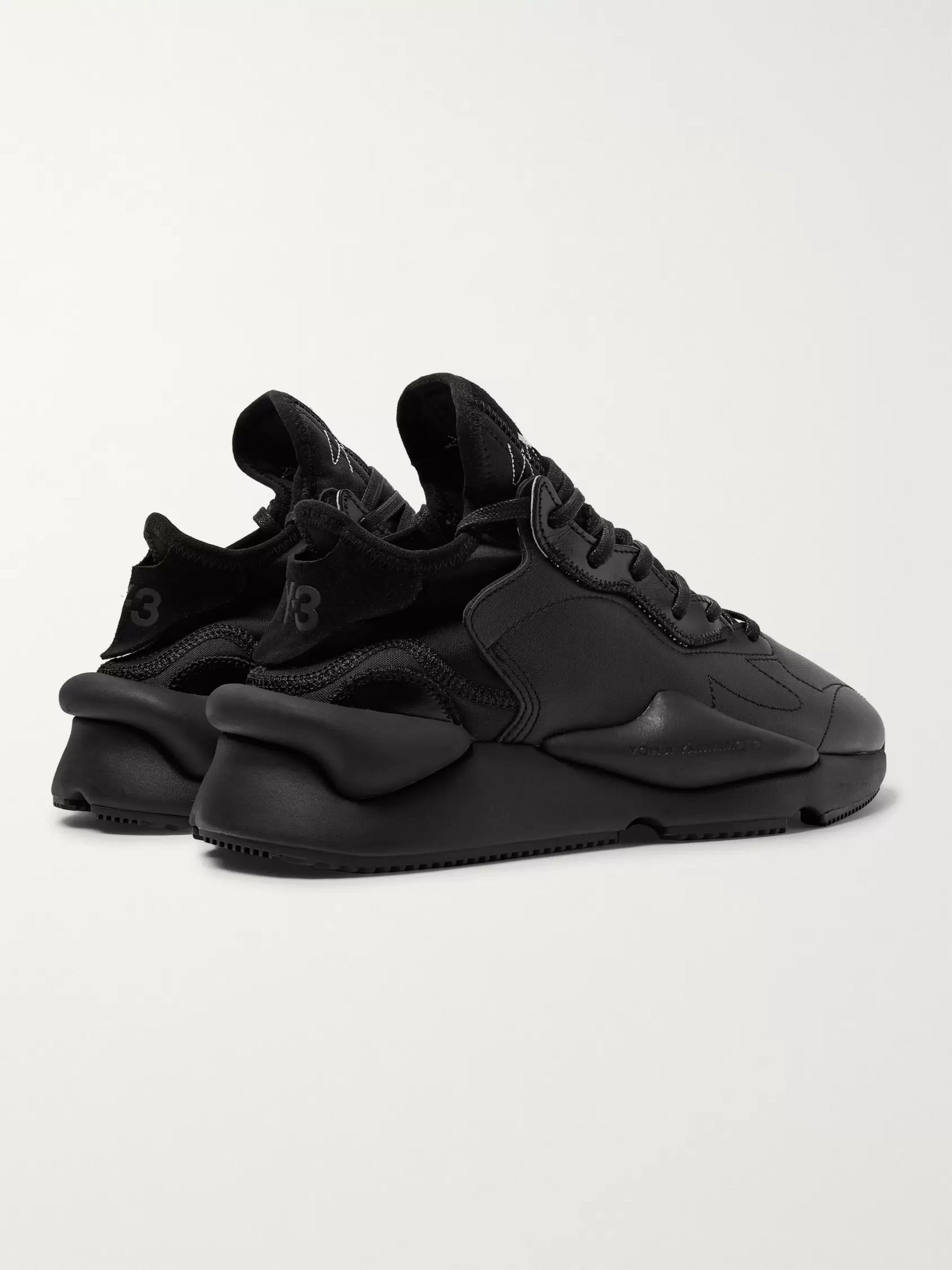 Y-3 Kaiwa Suede-Trimmed Leather and Neoprene Sneakers