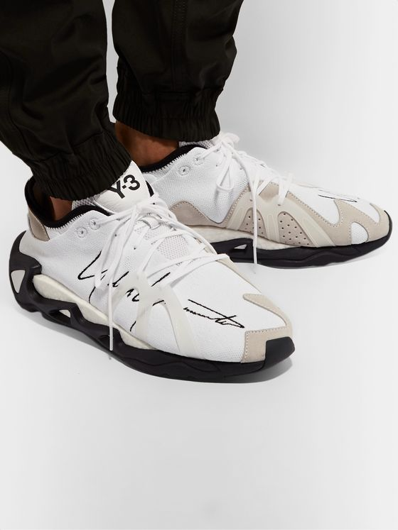 Y-3 FYW S-97 Logo-Embroidered Rubber and Suede-Trimmed Primeknit Sneakers