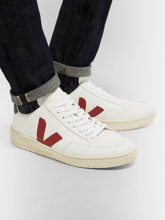Veja V-12 Rubber-Trimmed Leather Sneakers