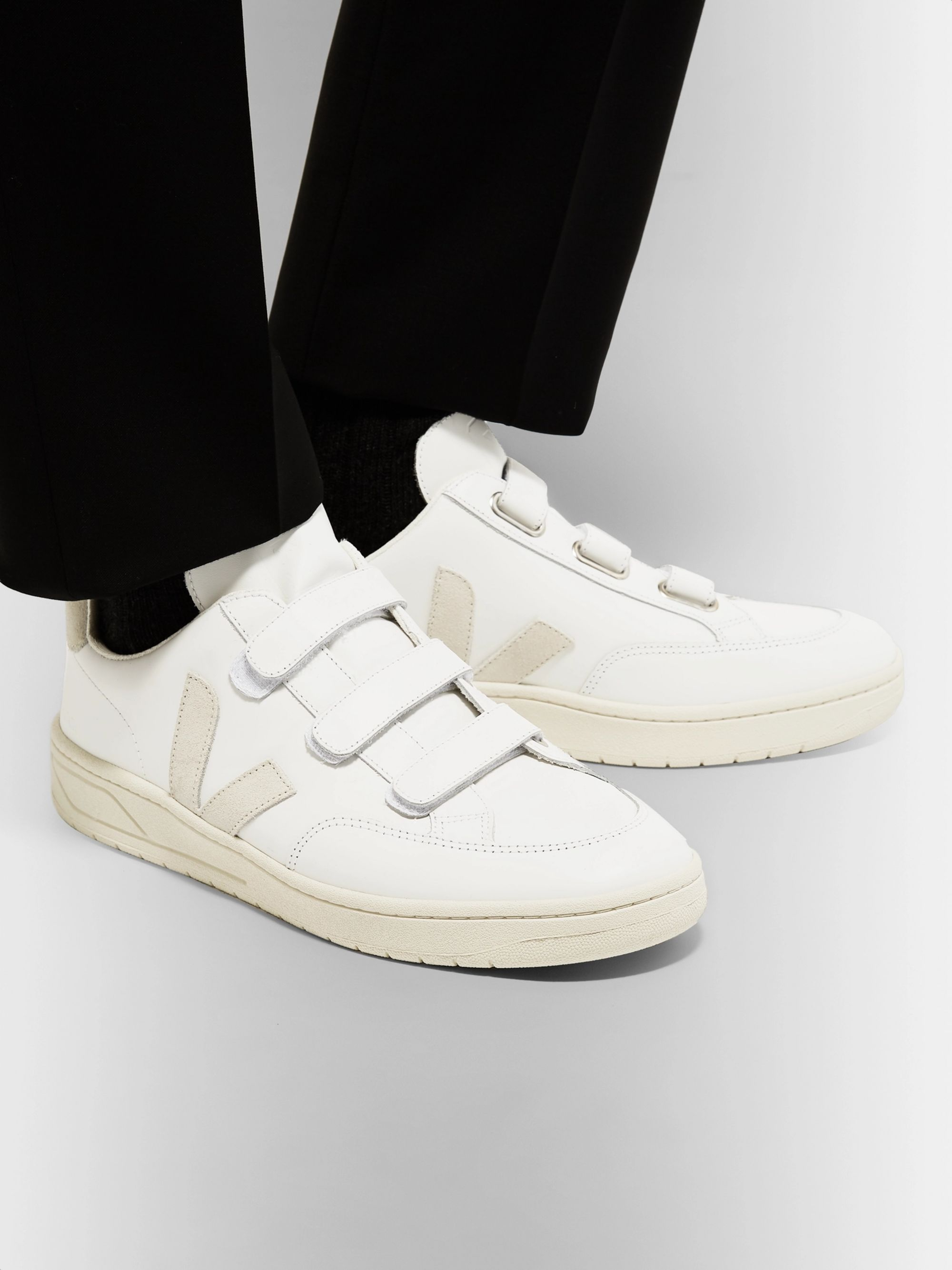 Veja V-Lock Suede-Trimmed Leather Sneakers