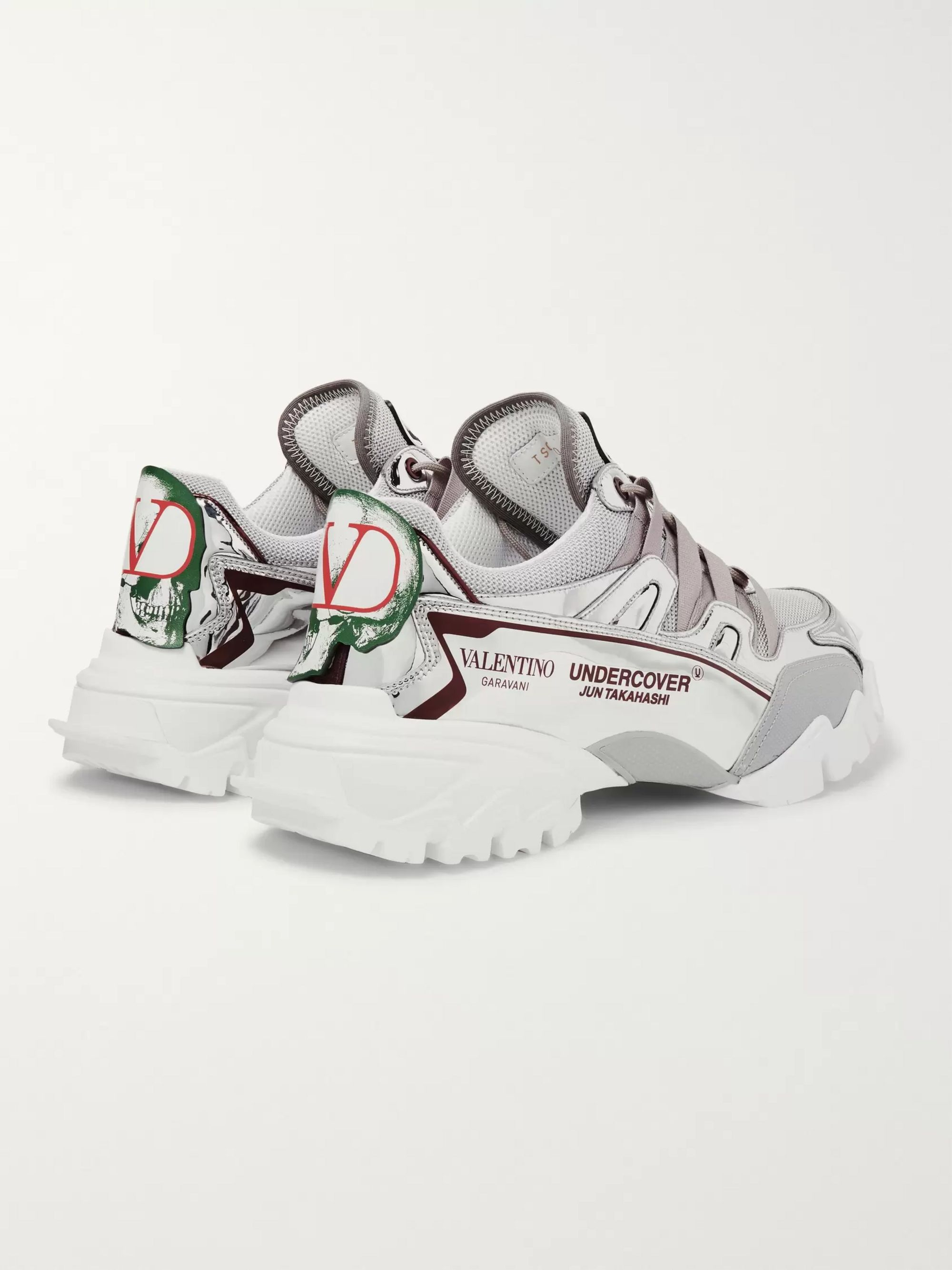 Valentino + Undercover Valentino Garavani Climbers Mesh, Leather and Rubber Sneakers