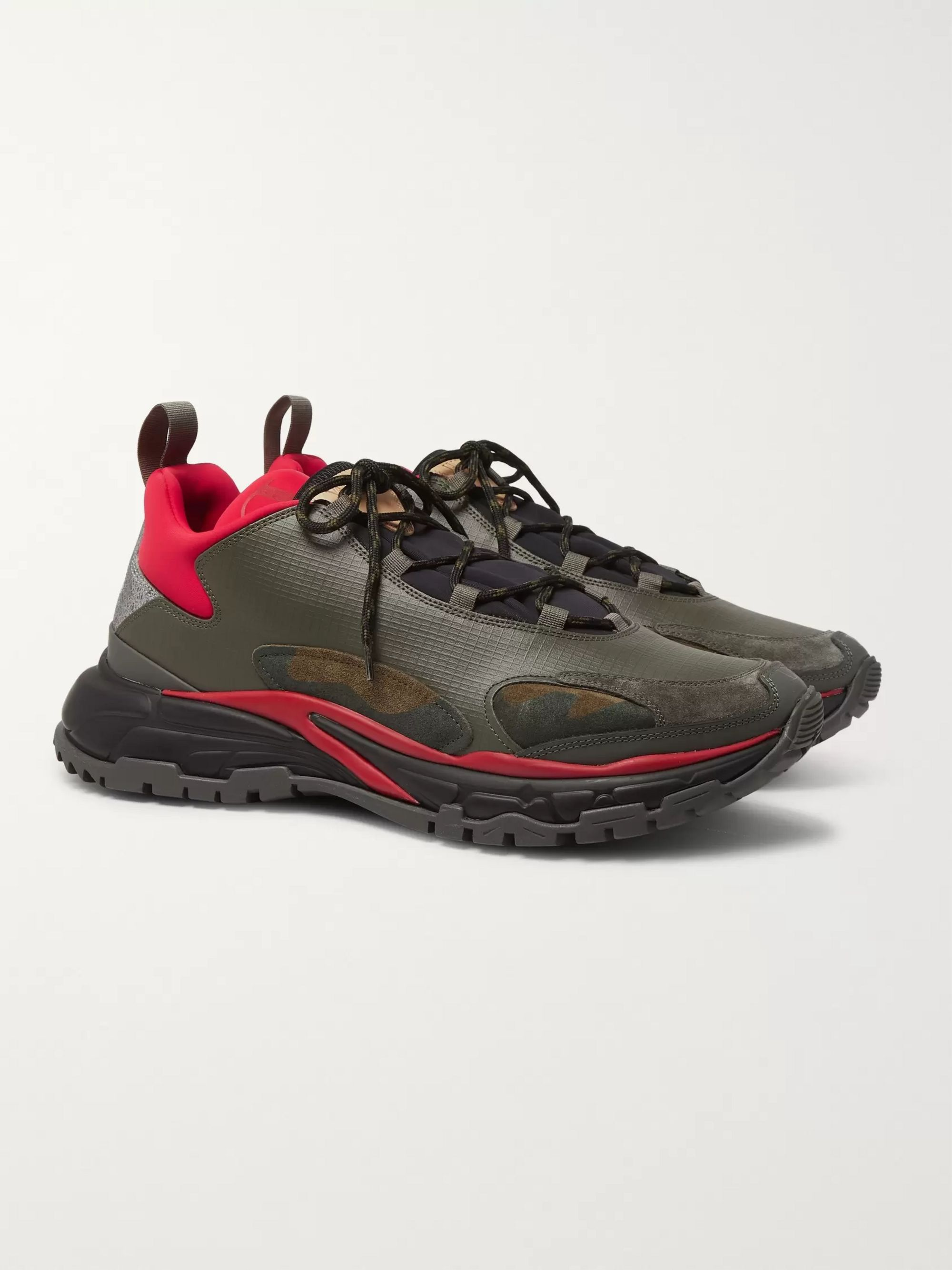 Valentino Valentino Garavani Trekking Leather, Suede and Neoprene Sneakers