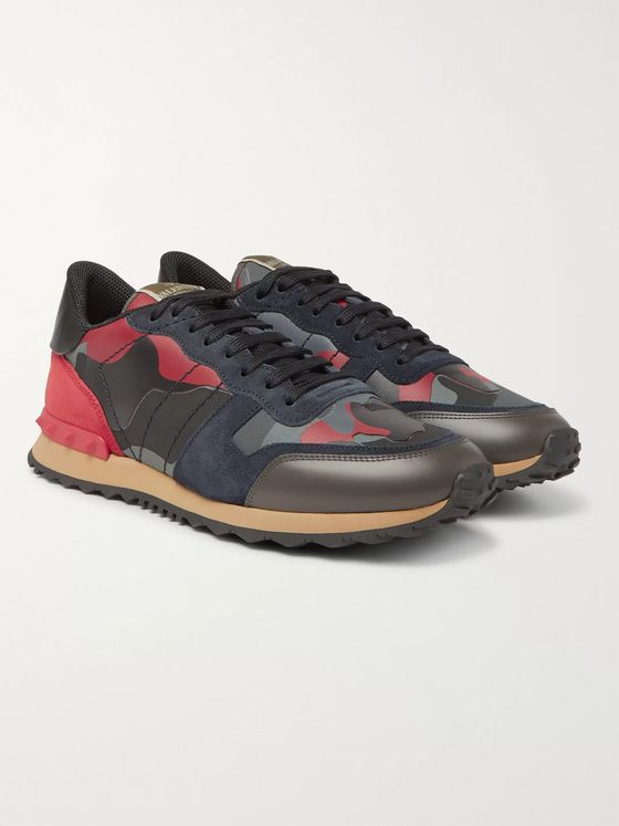 Valentino Valentino Garavani Rockrunner Camouflage-Print Canvas, Suede and Leather Sneakers