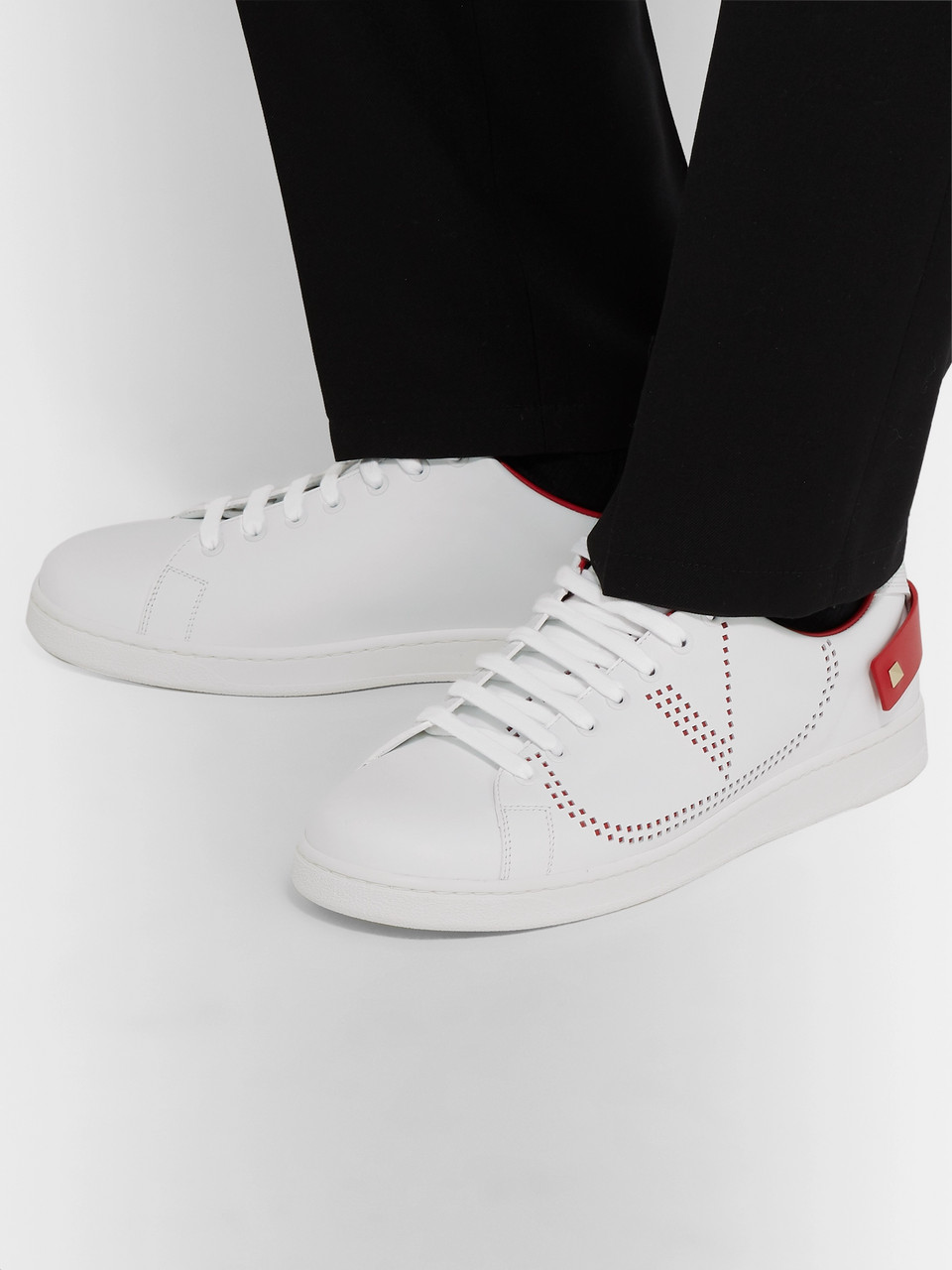 Valentino Valentino Garavani Net Perforated Leather Sneakers