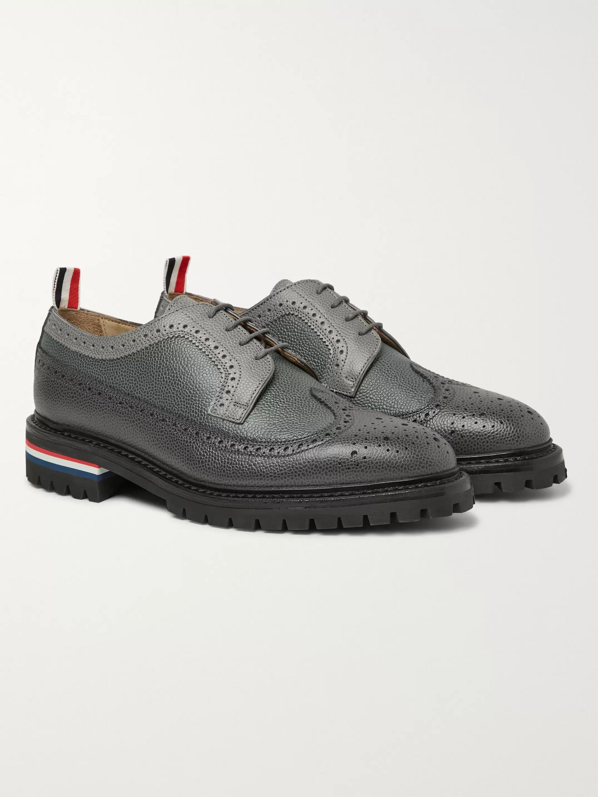Thom Browne Panelled Pebble-Grain Leather Longwing Brogues