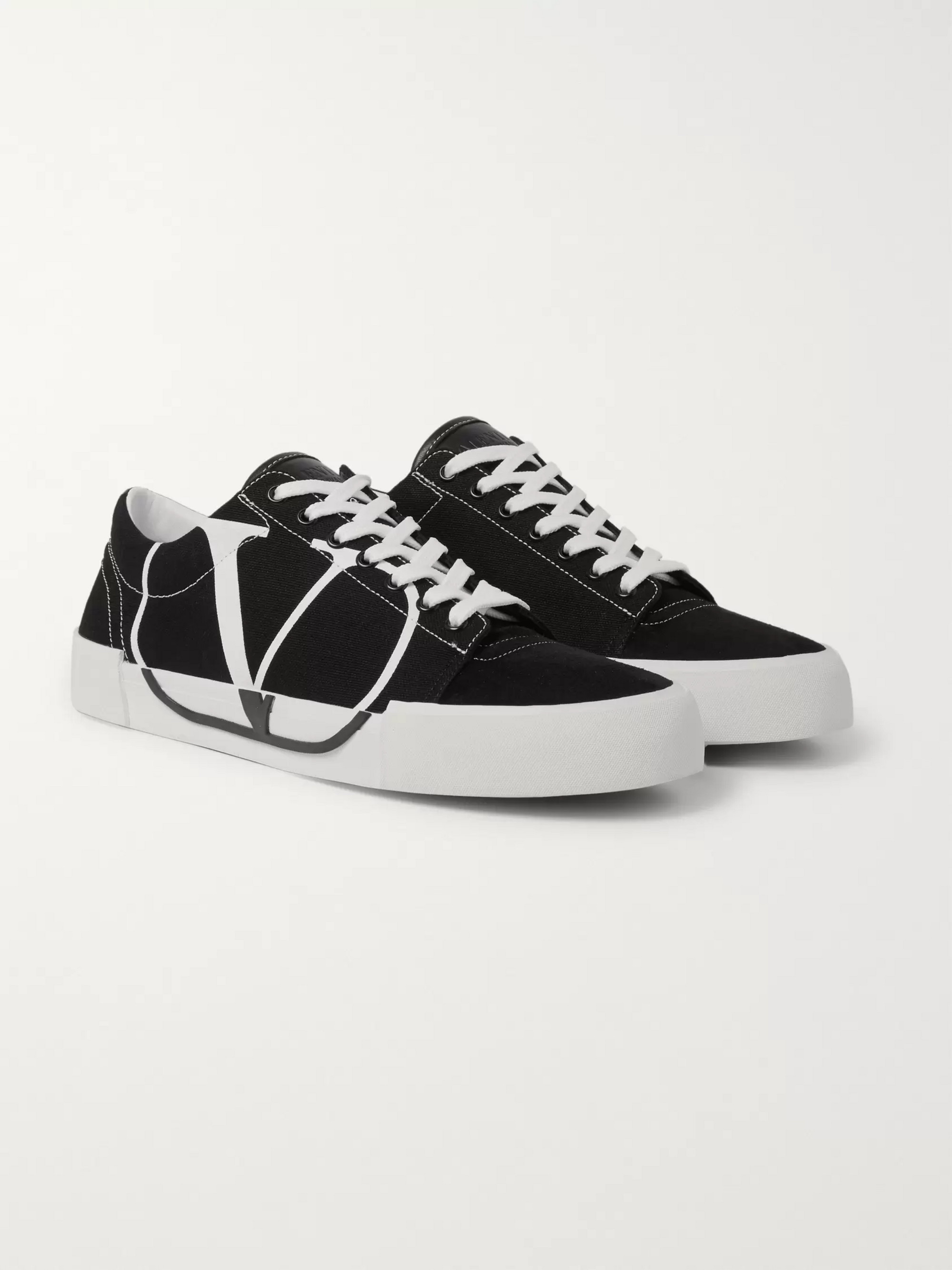Valentino Logo-Print Canvas and Suede Sneakers