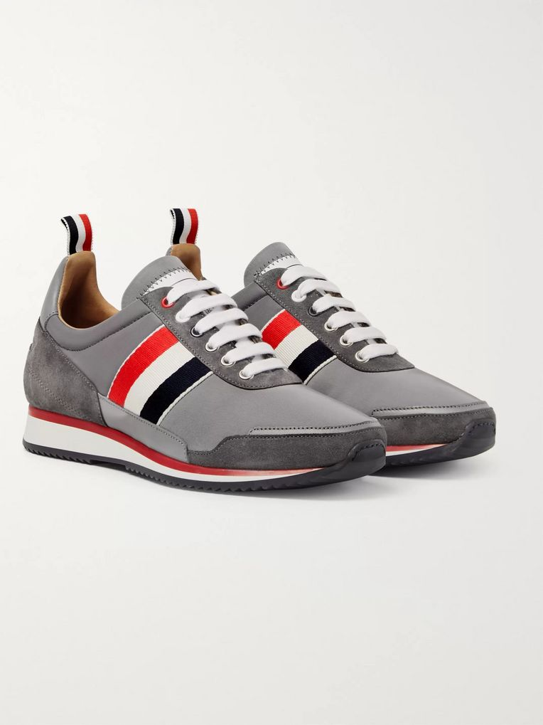 Thom Browne Grosgrain and Suede-Trimmed Nylon Sneakers