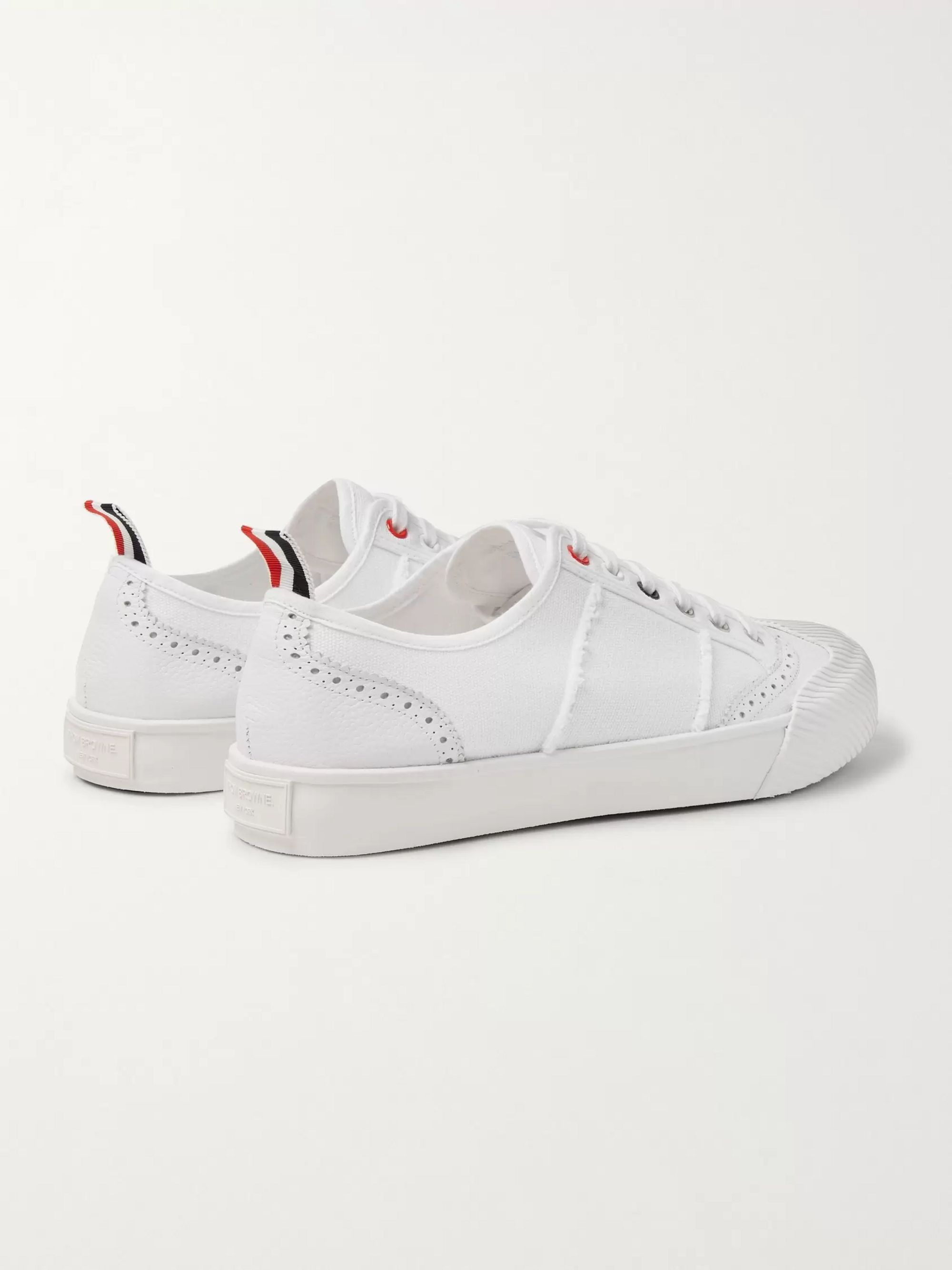 Thom Browne Leather and Rubber-Trimmed Canvas Sneakers