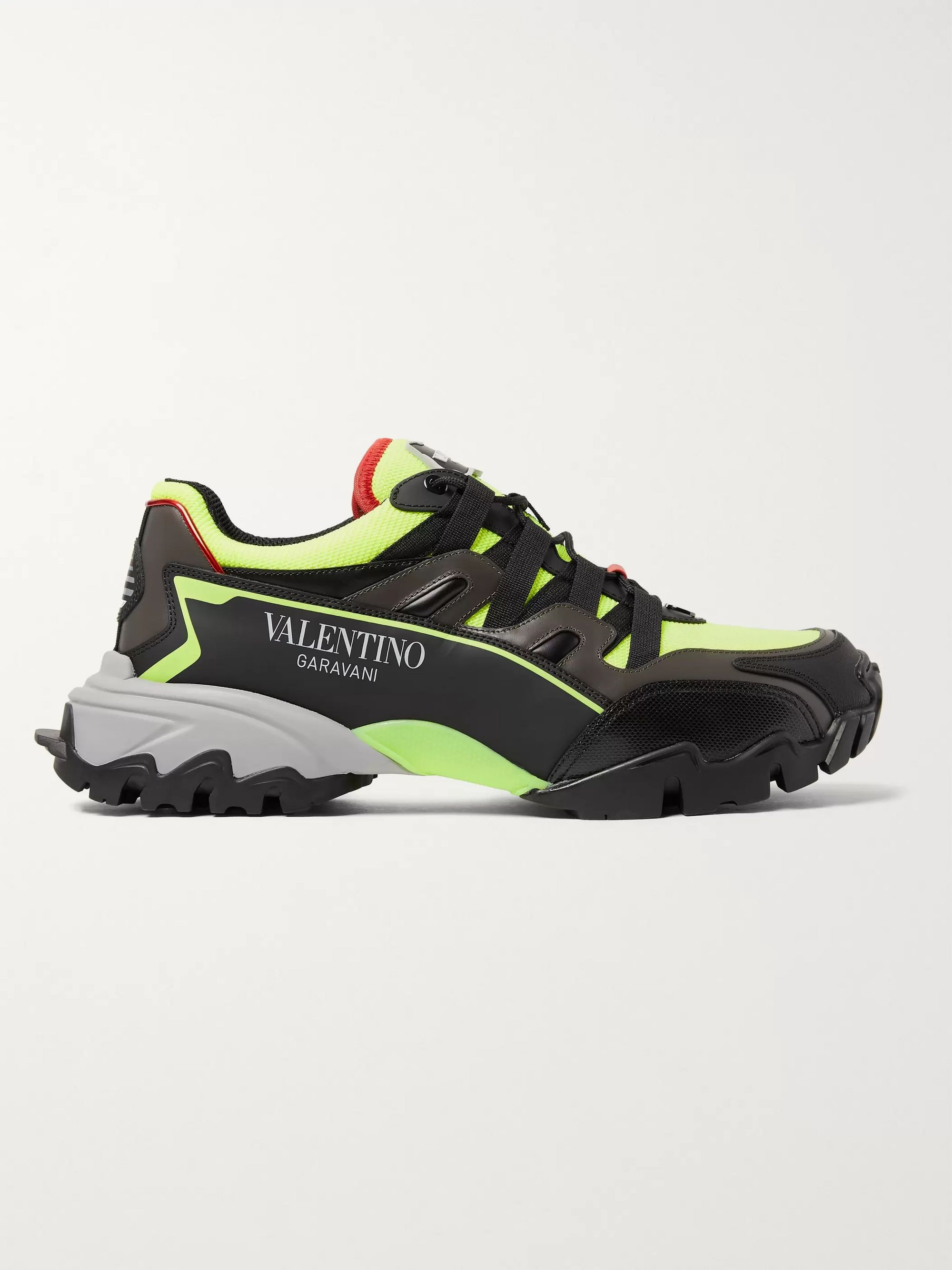 Valentino Valentino Garavani Climbers Mesh, Leather and Rubber Sneakers