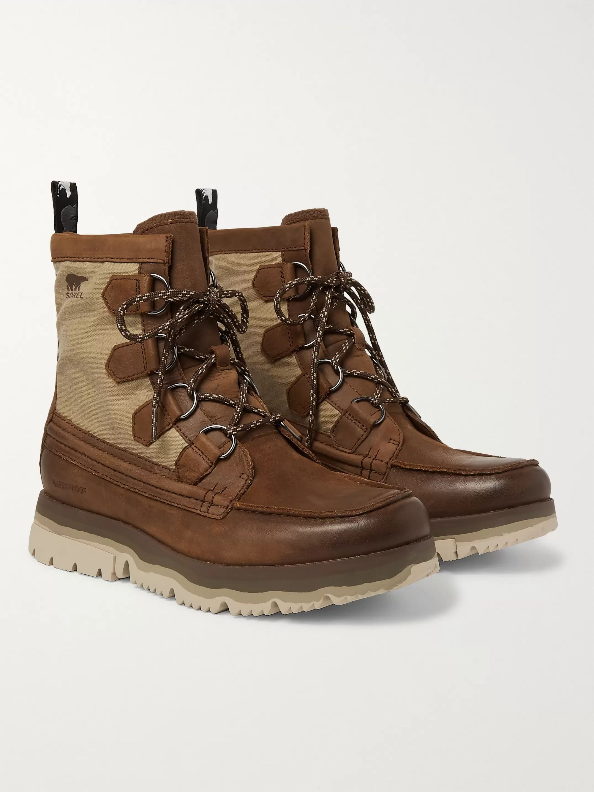 Atlis Caribou Waterproof Leather And Canvas Boots by Sorel