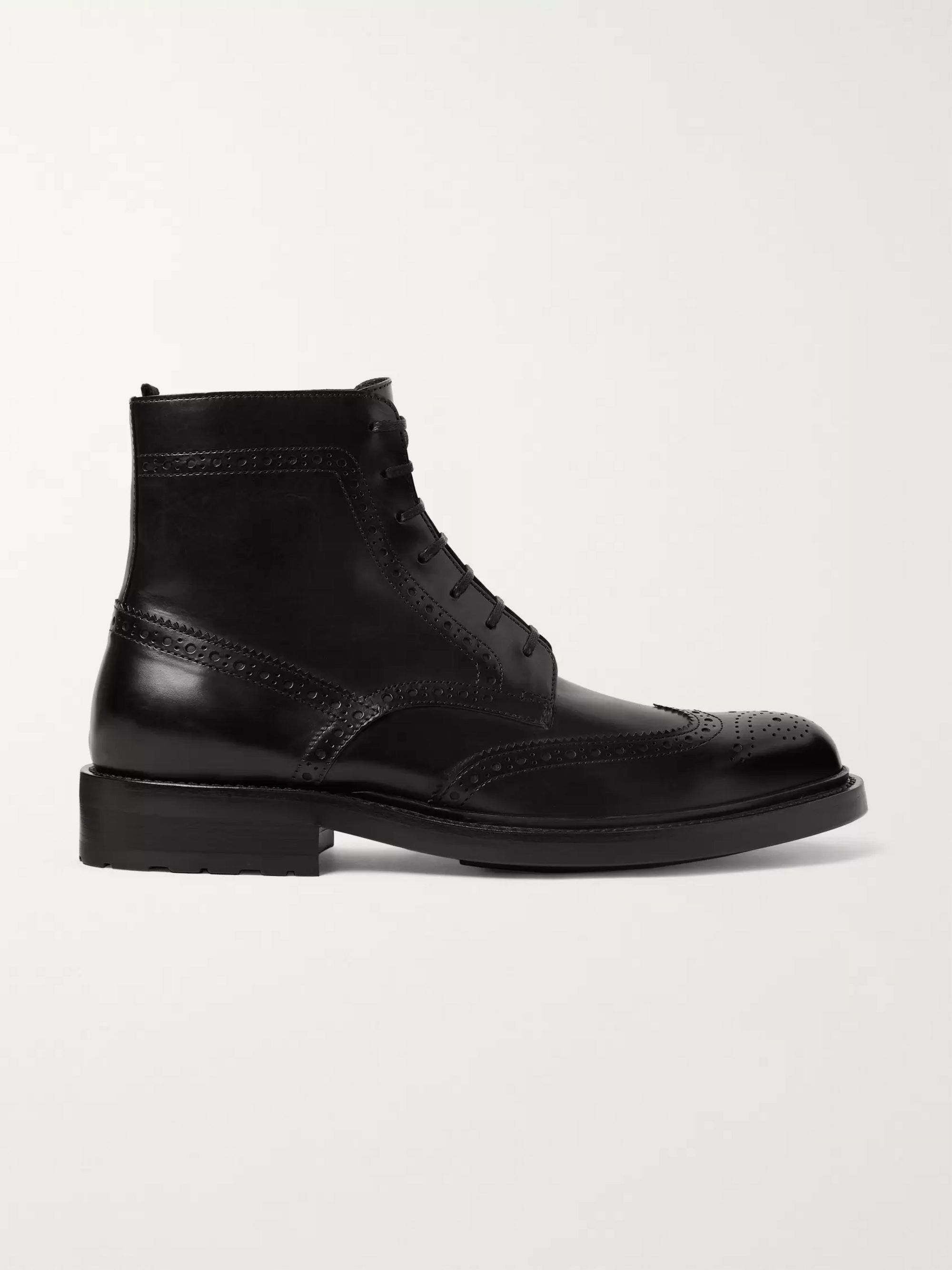 SAINT LAURENT Polished-Leather Wingtip Brogue Boots