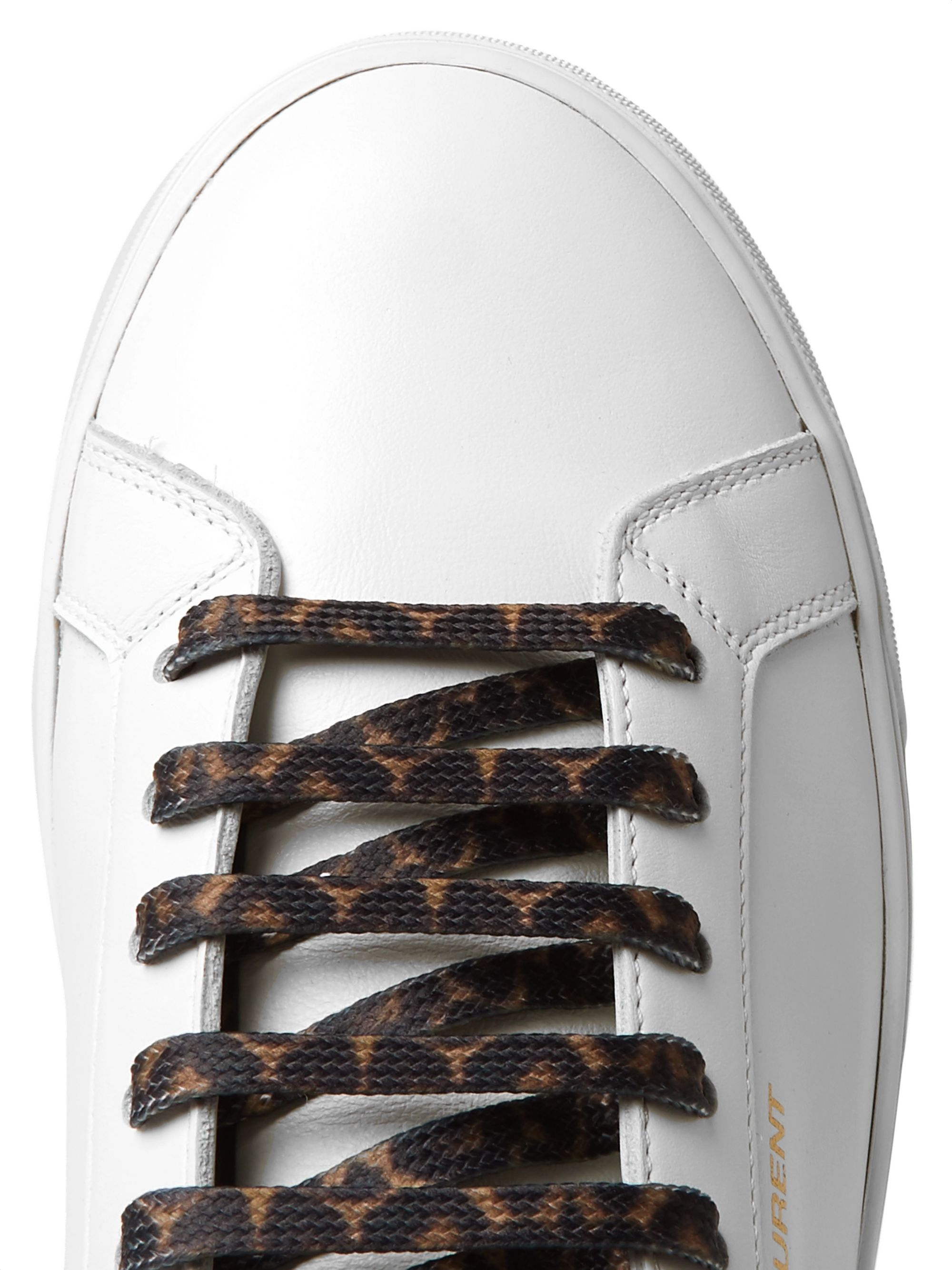 SAINT LAURENT Andy Leopard-Print Calf Hair-Trimmed Leather Sneakers