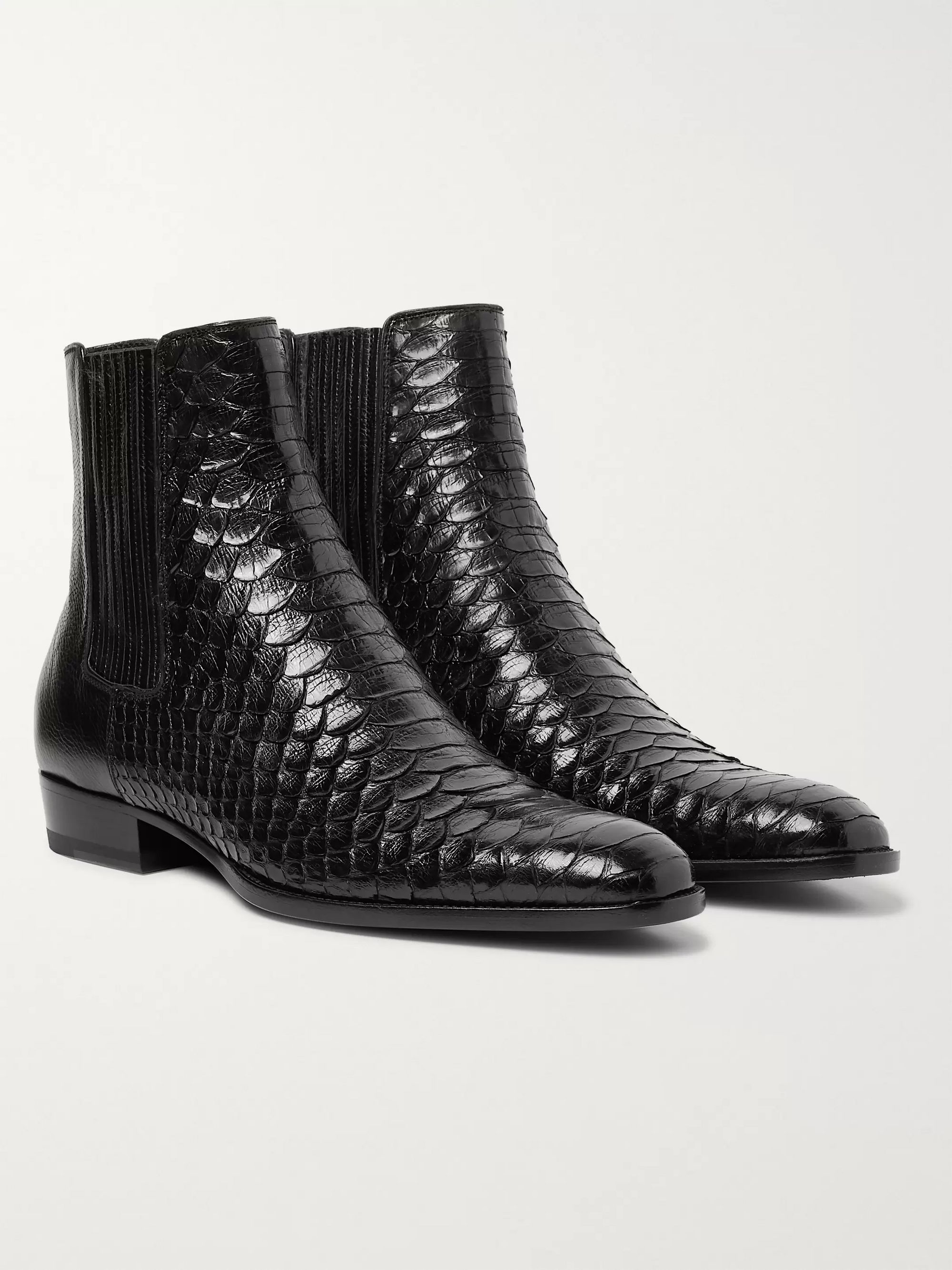 Wyatt Python And Leather Chelsea Boots by Saint Laurent