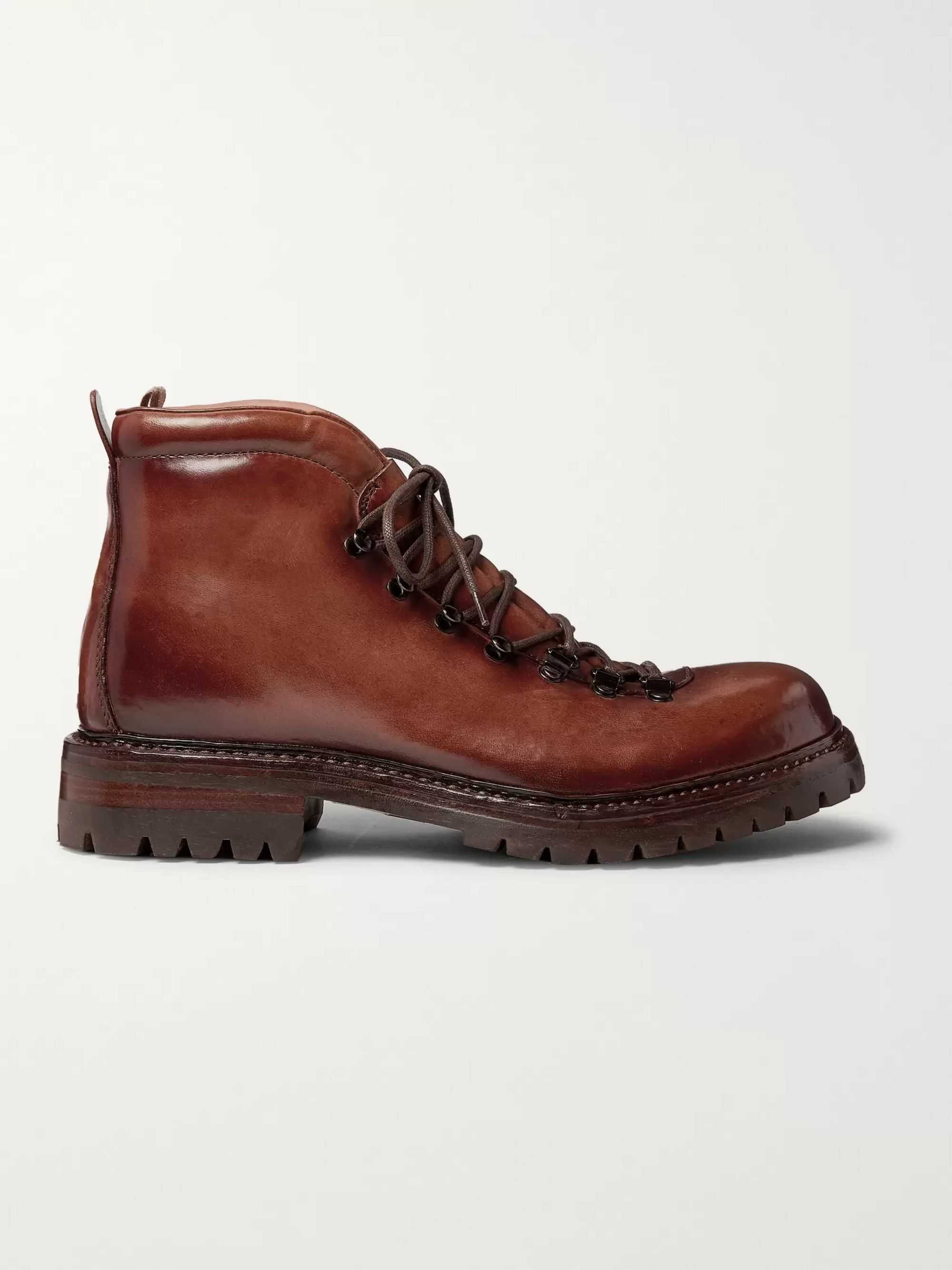 Officine Creative Manchester Shearling-Lined Grained Leather Hiking Boots