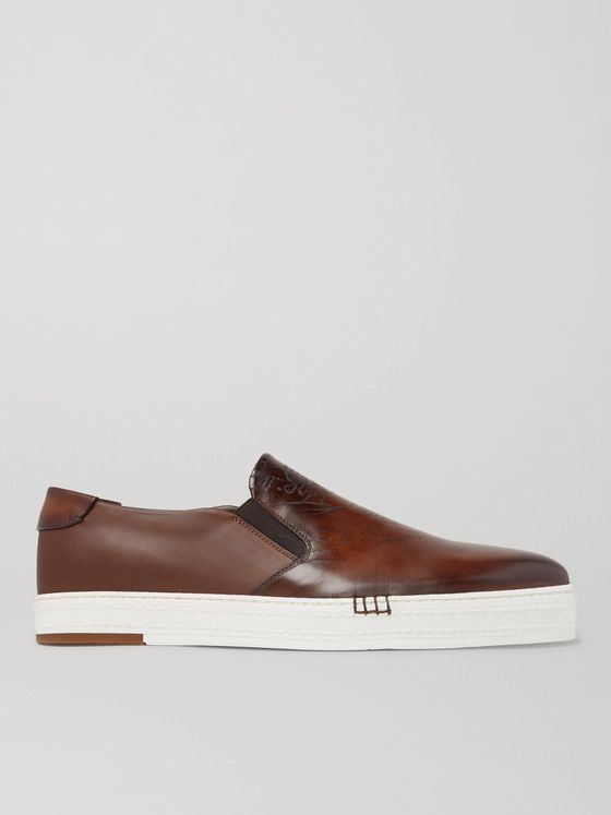 BERLUTI Playtime Scritto Leather Slip-On Sneakers