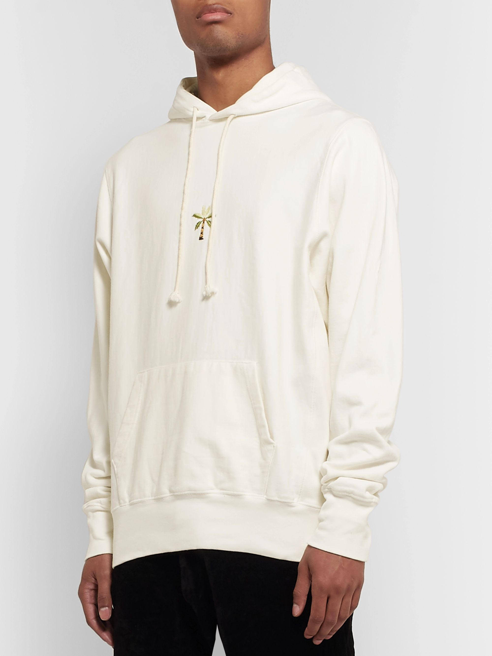 Story Mfg. Bloom Embroidered Fleece-Back Organic Cotton-Jersey Hoodie