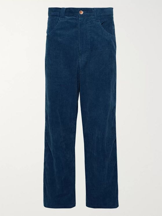 Story Mfg. Indigo-Dyed Organic Cotton-Corduroy Trousers